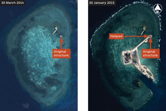 Chinese construction of an island in the South China Sea